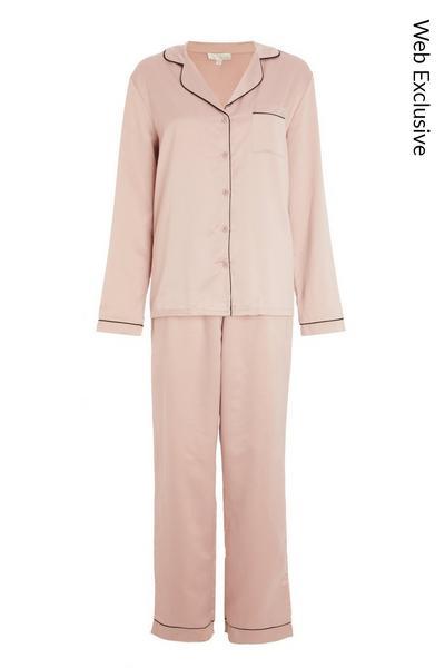 Mauve Satin Long Pyjama Set